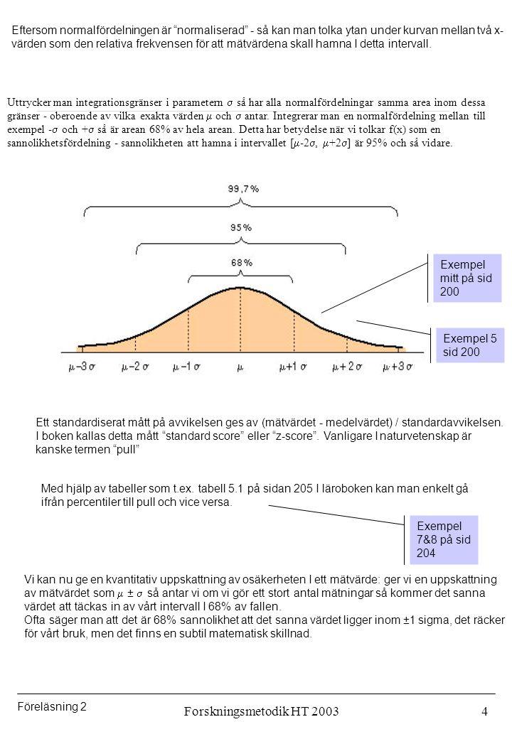Eftersom normalfördelningen är normaliserad - så kan man tolka ytan under kurvan mellan två x-värden som den relativa frekvensen för att mätvärdena skall hamna I detta intervall.