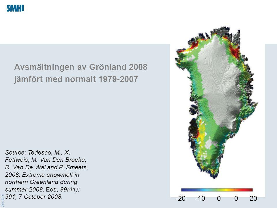 Avsmältningen av Grönland 2008 jämfört med normalt 1979-2007