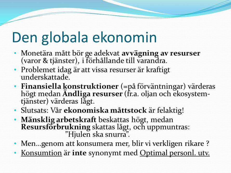 Den globala ekonomin Monetära mått bör ge adekvat avvägning av resurser (varor & tjänster), i förhållande till varandra.
