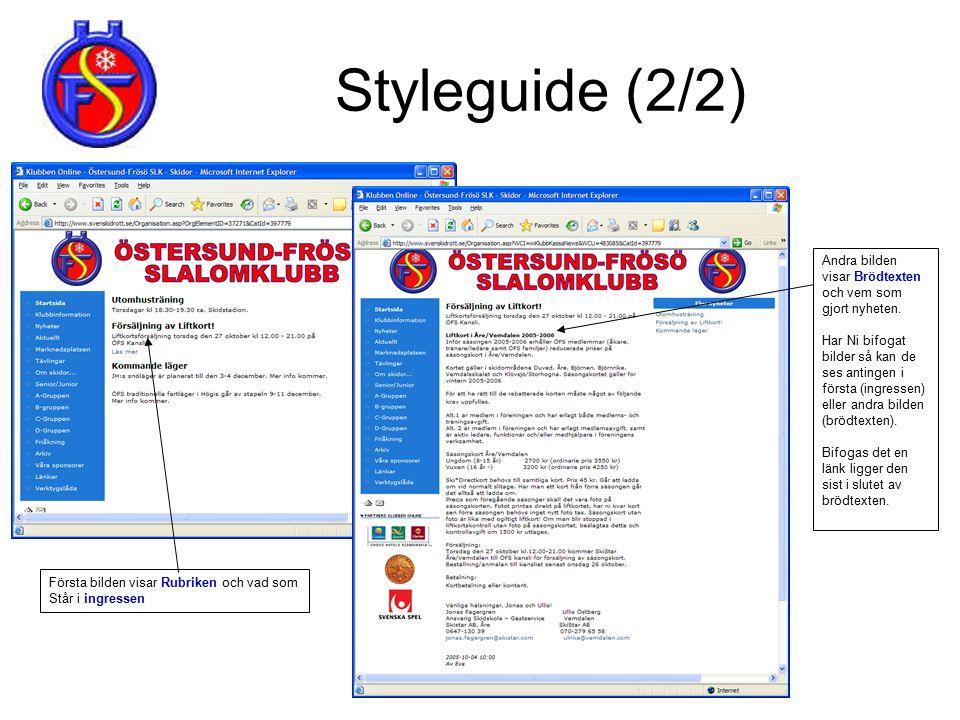 Styleguide (2/2) Ångra senaste kommando