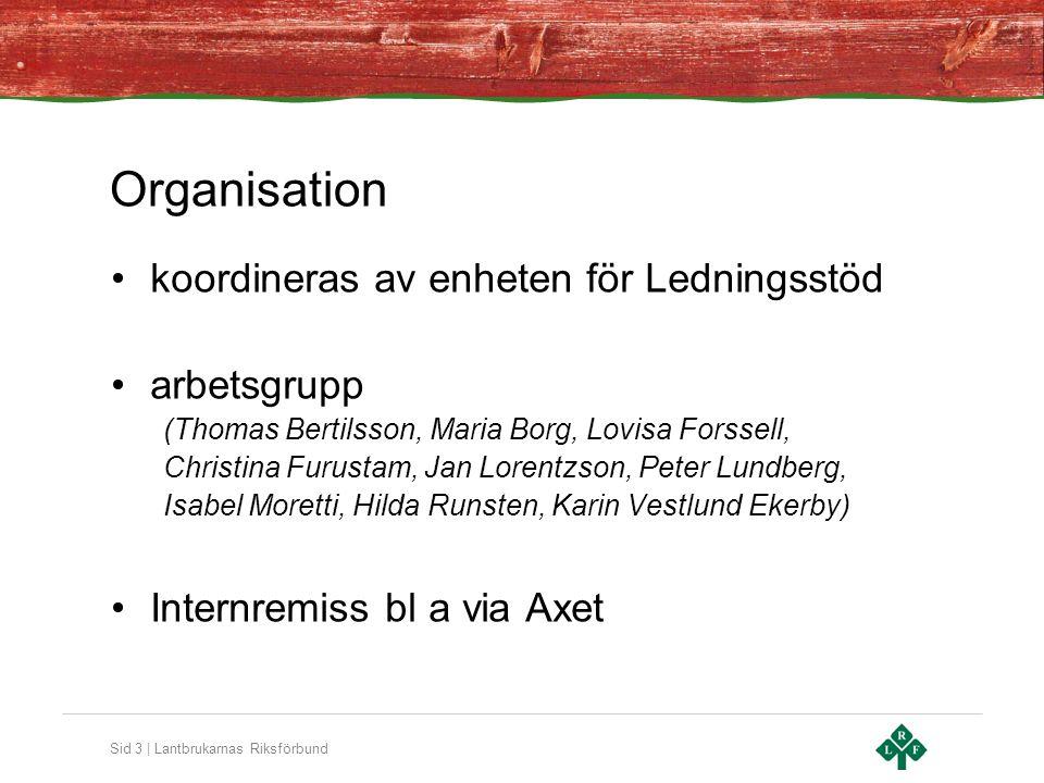 Organisation koordineras av enheten för Ledningsstöd arbetsgrupp