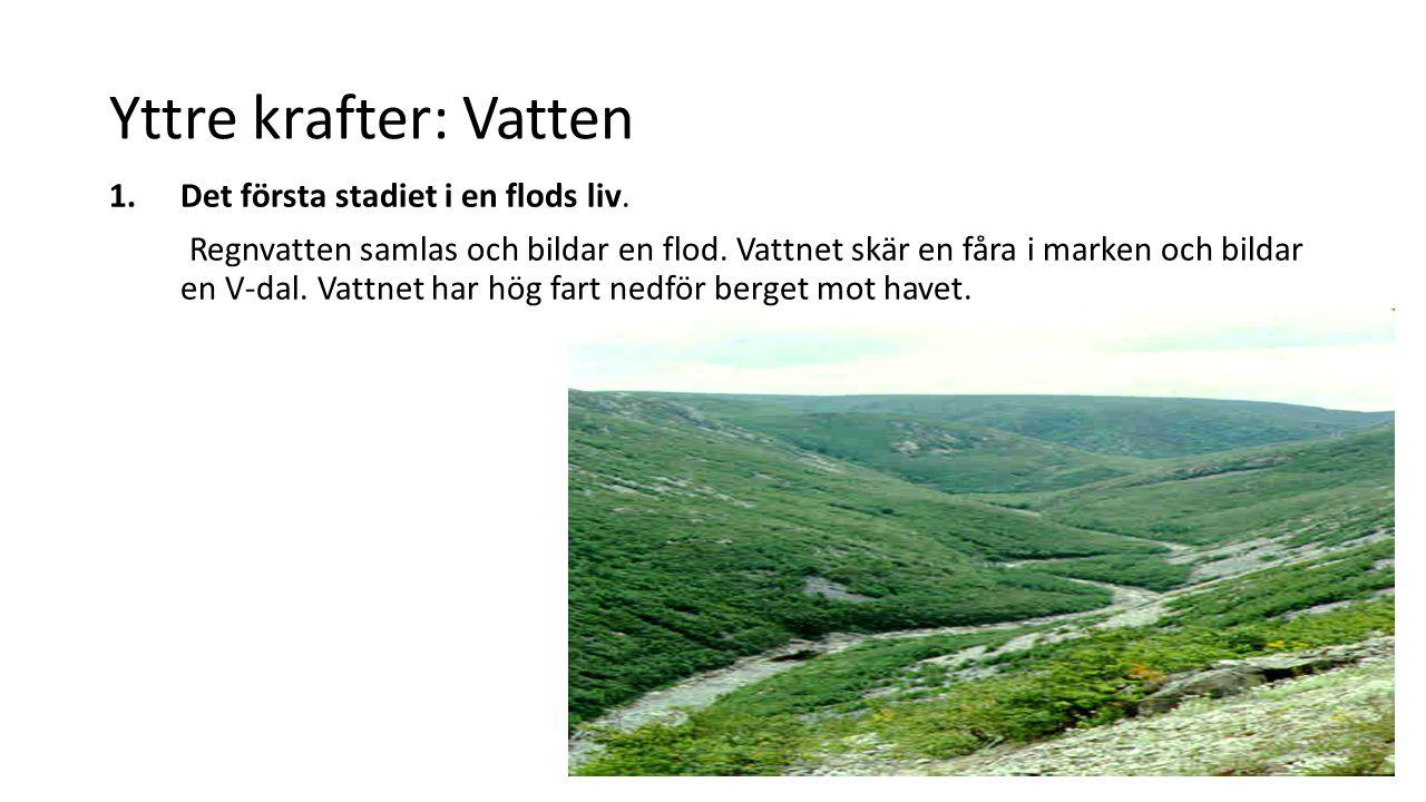 Yttre krafter: Vatten Det första stadiet i en flods liv.