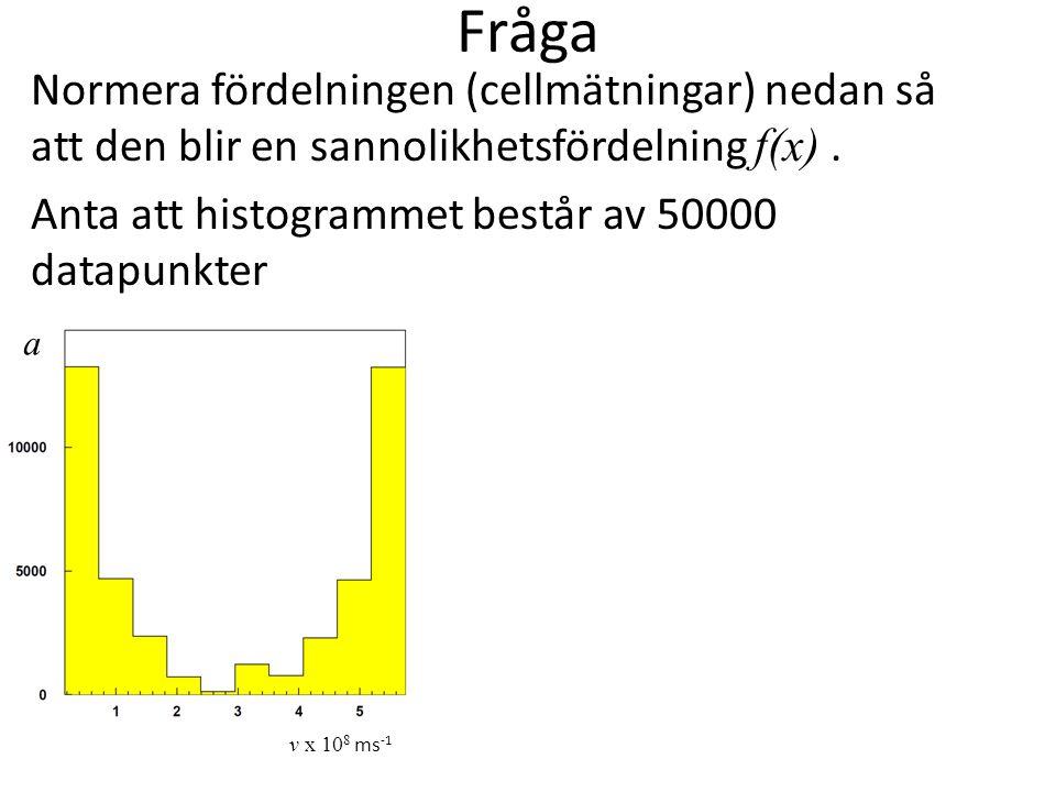 Fråga Normera fördelningen (cellmätningar) nedan så att den blir en sannolikhetsfördelning f(x) . Anta att histogrammet består av 50000 datapunkter