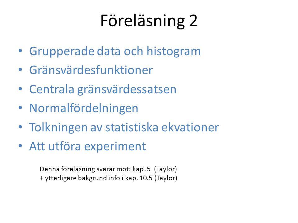 Föreläsning 2 Grupperade data och histogram Gränsvärdesfunktioner