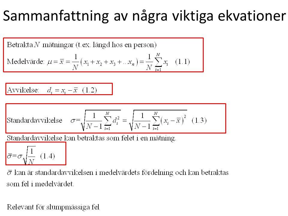 Sammanfattning av några viktiga ekvationer