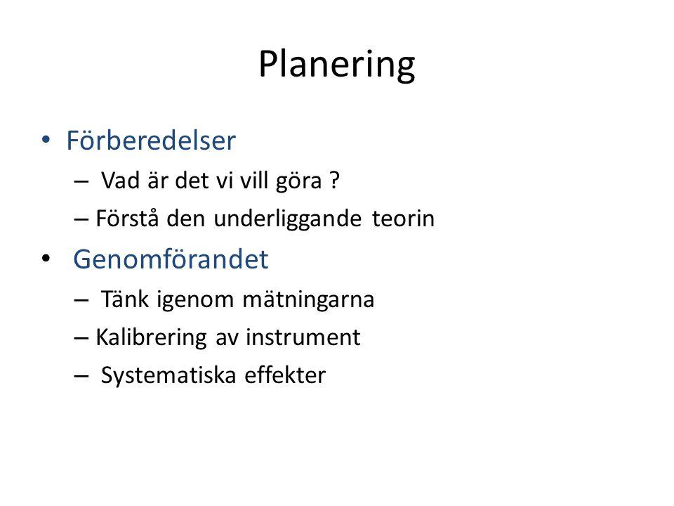 Planering Förberedelser Genomförandet Vad är det vi vill göra