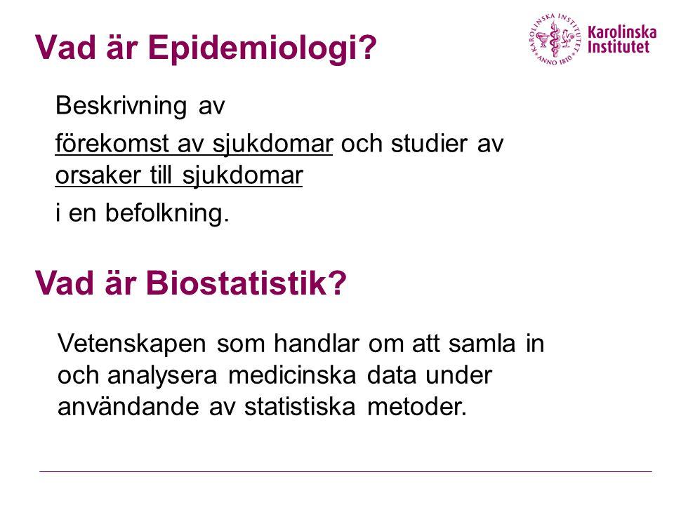 Vad är Epidemiologi Vad är Biostatistik Beskrivning av