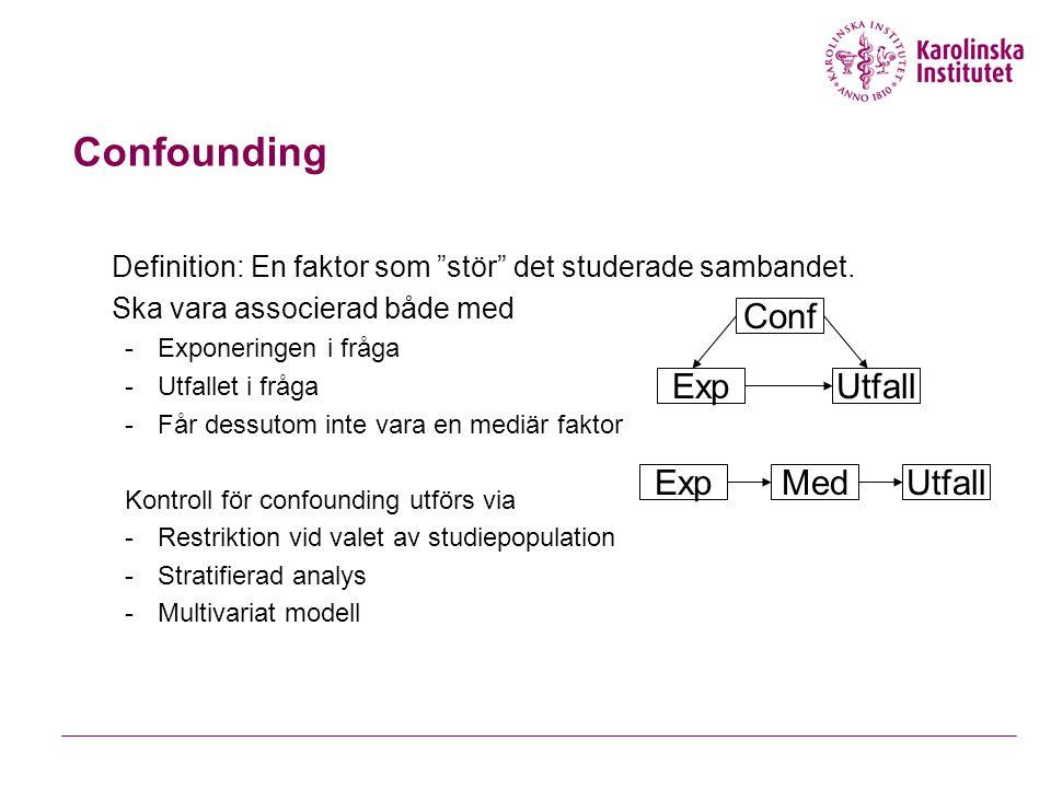 Confounding Conf Exp Utfall Exp Med Utfall