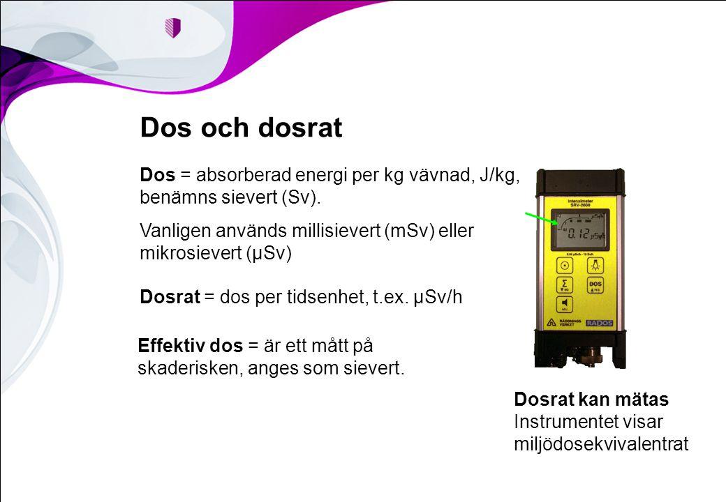 Dos och dosrat Dos = absorberad energi per kg vävnad, J/kg, benämns sievert (Sv). Vanligen används millisievert (mSv) eller mikrosievert (µSv)