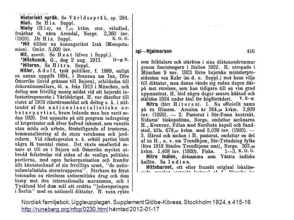 Nordisk familjebok, Uggleupplagan, Supplement Glöbe-Kövess, Stockholm 1924, s 415-16 http://runeberg.org/nfcp/0230.html hämtad 2012-01-17