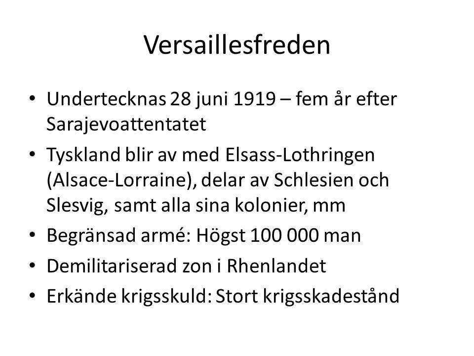 Versaillesfreden Undertecknas 28 juni 1919 – fem år efter Sarajevoattentatet.