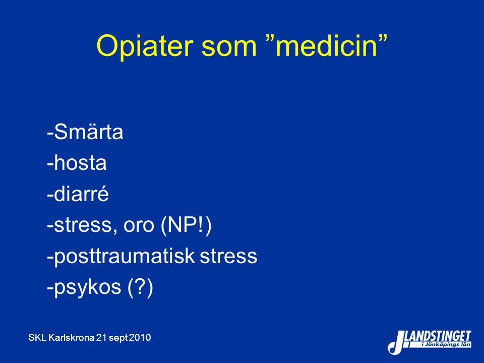 Opiater som medicin -Smärta -hosta -diarré -stress, oro (NP!)