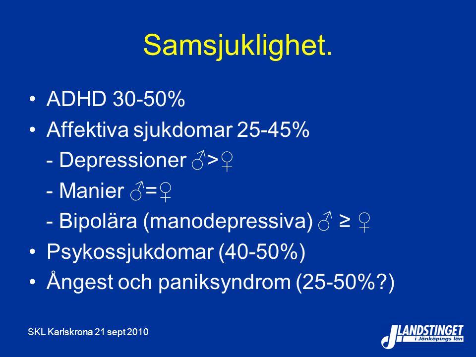 Samsjuklighet. ADHD 30-50% Affektiva sjukdomar 25-45%