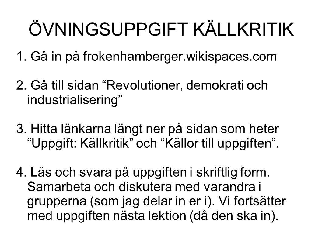 ÖVNINGSUPPGIFT KÄLLKRITIK