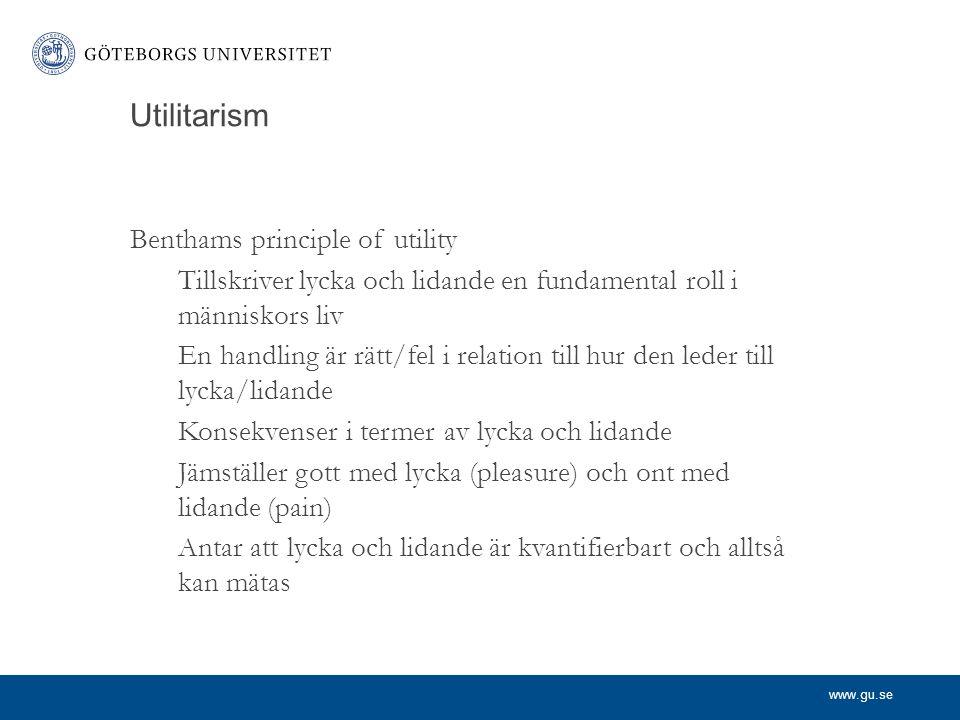 Utilitarism Benthams principle of utility