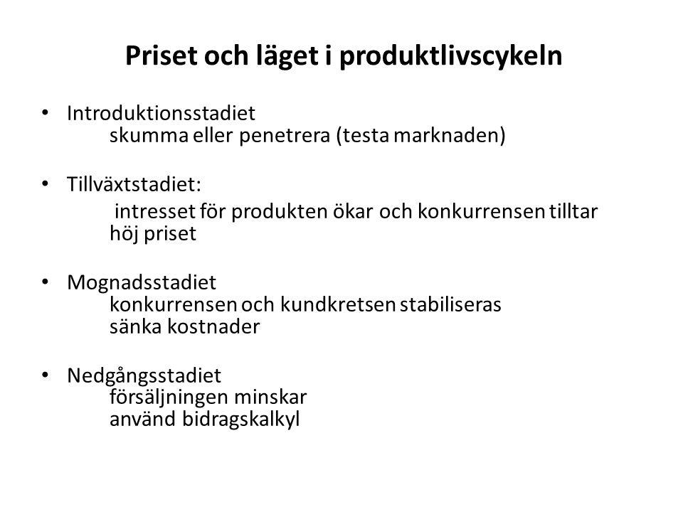 Priset och läget i produktlivscykeln