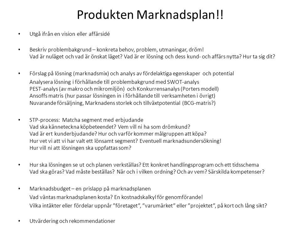 Produkten Marknadsplan!!