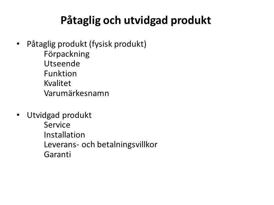 Påtaglig och utvidgad produkt