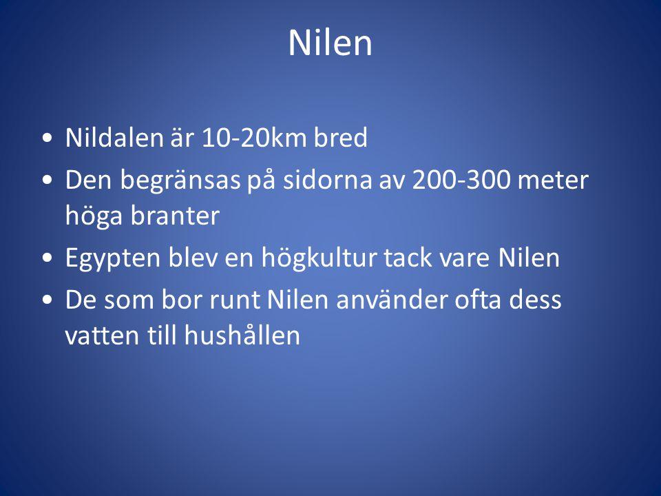 Nilen Nildalen är 10-20km bred