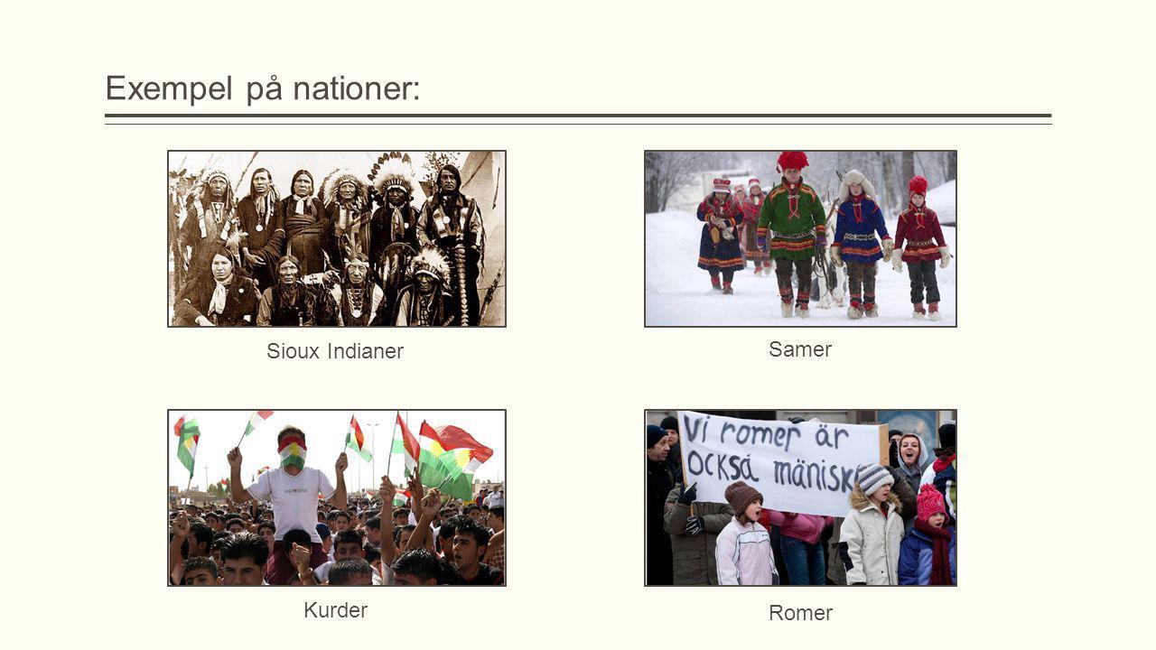 Exempel på nationer: Sioux Indianer Samer Kurder Romer