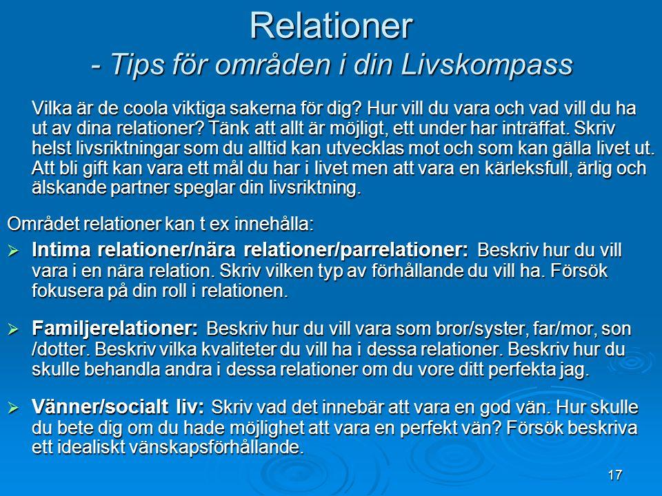 Relationer - Tips för områden i din Livskompass