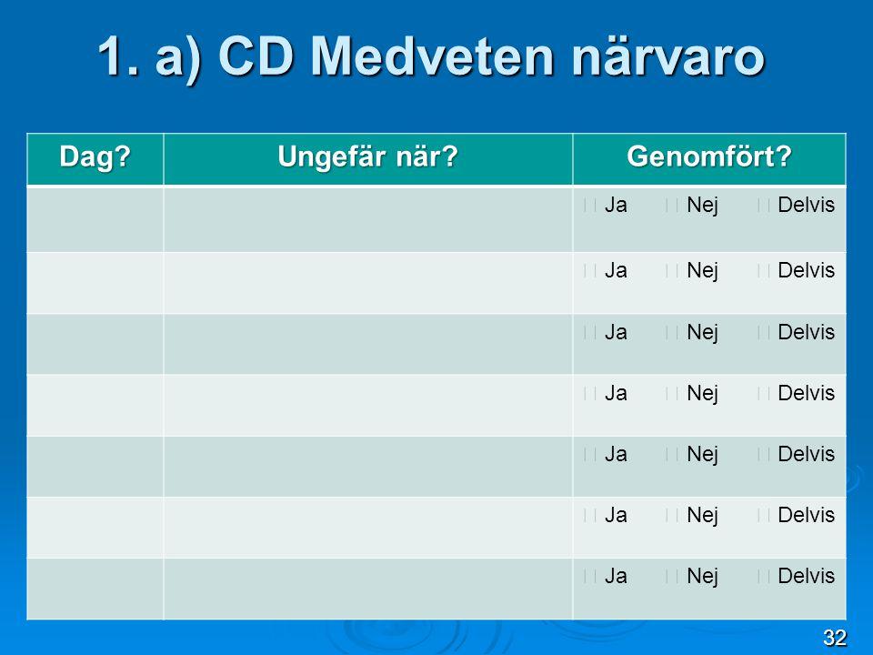 1. a) CD Medveten närvaro Dag Ungefär när Genomfört