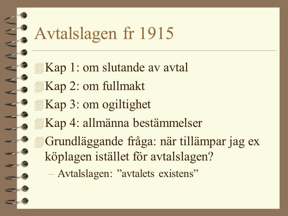 Avtalslagen fr 1915 Kap 1: om slutande av avtal Kap 2: om fullmakt
