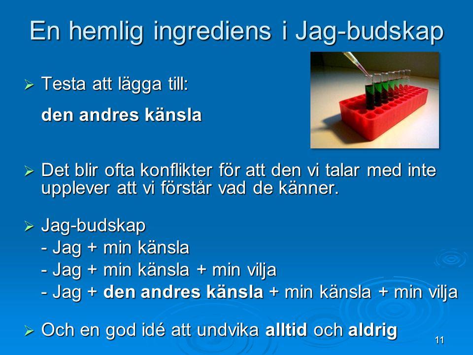 En hemlig ingrediens i Jag-budskap