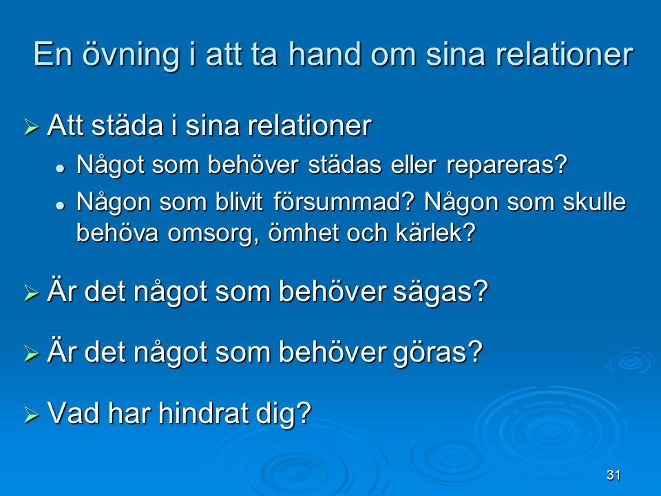 En övning i att ta hand om sina relationer