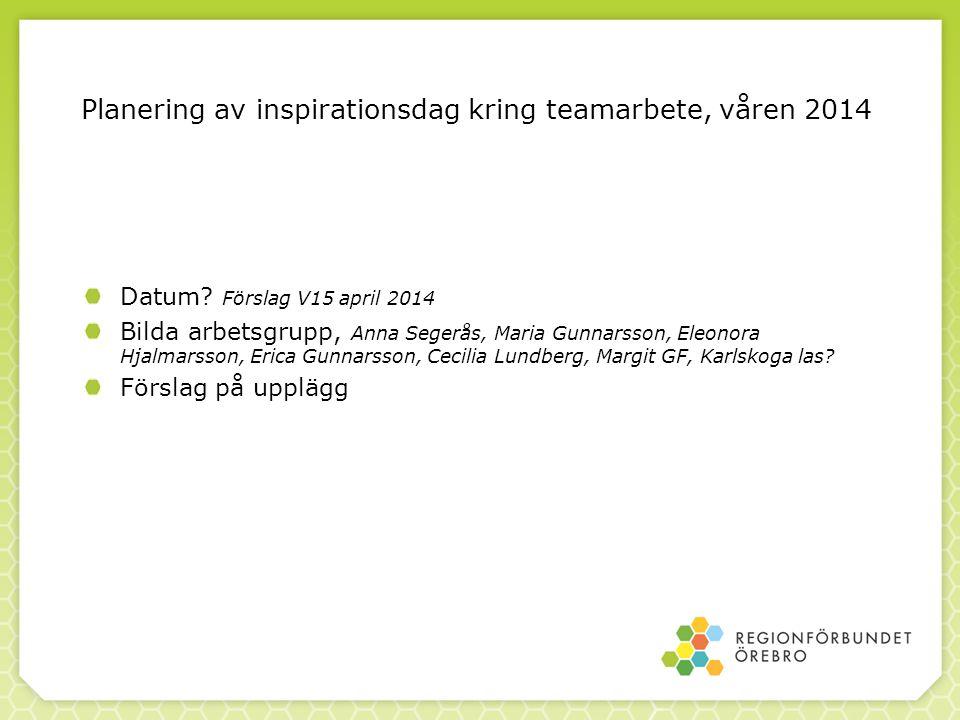 Planering av inspirationsdag kring teamarbete, våren 2014
