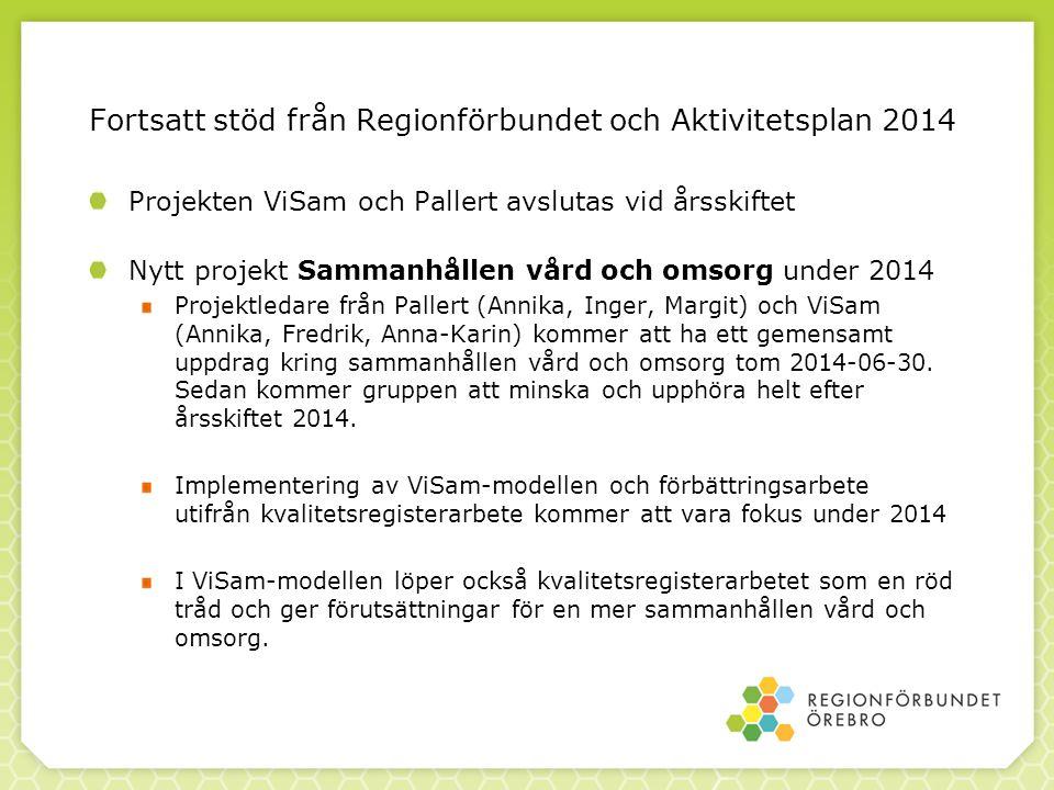 Fortsatt stöd från Regionförbundet och Aktivitetsplan 2014