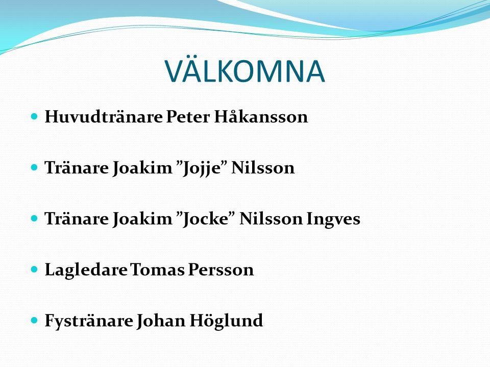 VÄLKOMNA Huvudtränare Peter Håkansson Tränare Joakim Jojje Nilsson