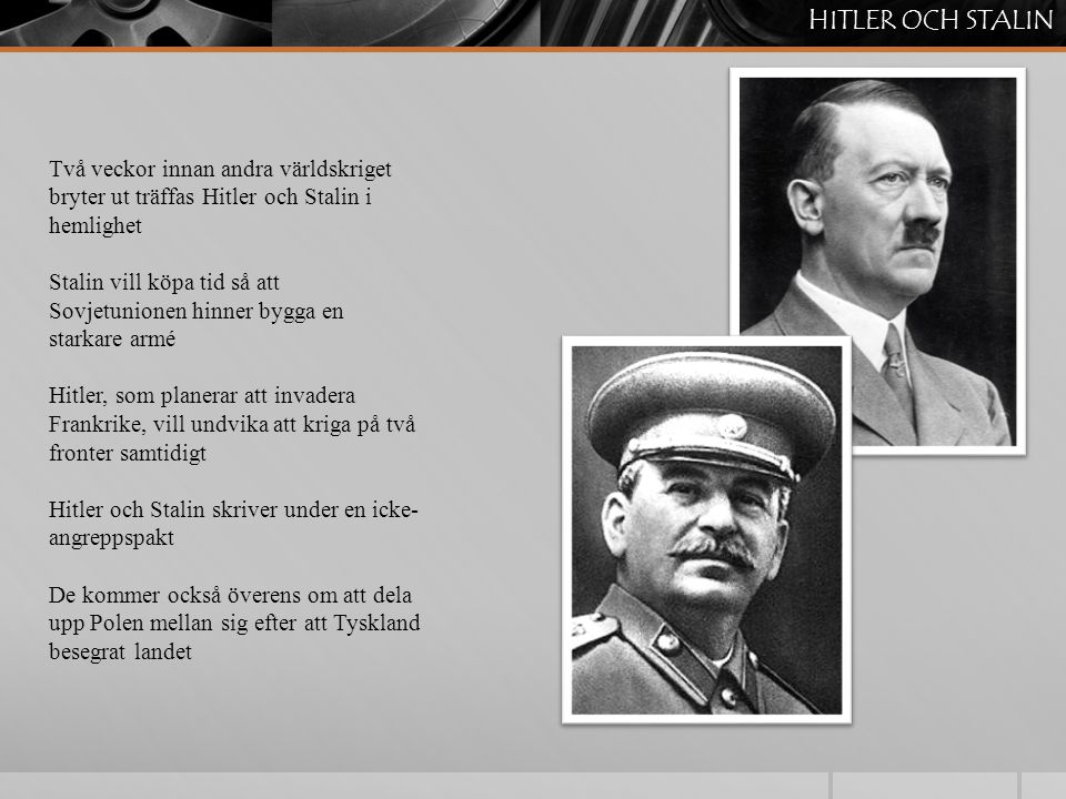 HITLER OCH STALIN Två veckor innan andra världskriget bryter ut träffas Hitler och Stalin i hemlighet.