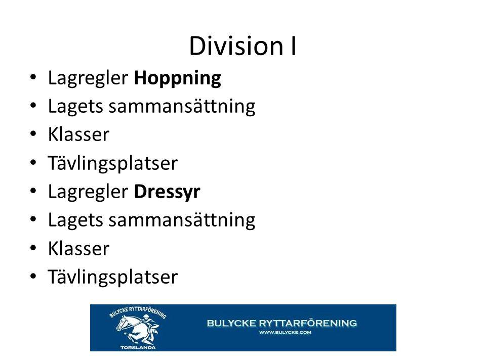 Division I Lagregler Hoppning Lagets sammansättning Klasser
