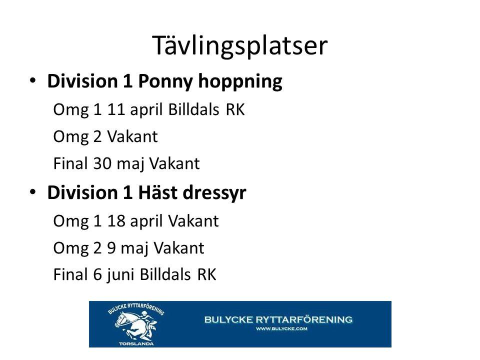 Tävlingsplatser Division 1 Ponny hoppning Division 1 Häst dressyr