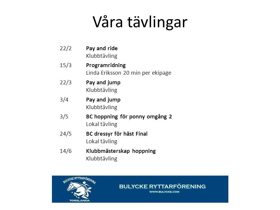 Våra tävlingar 22/2 Pay and ride Klubbtävling 15/3 Programridning