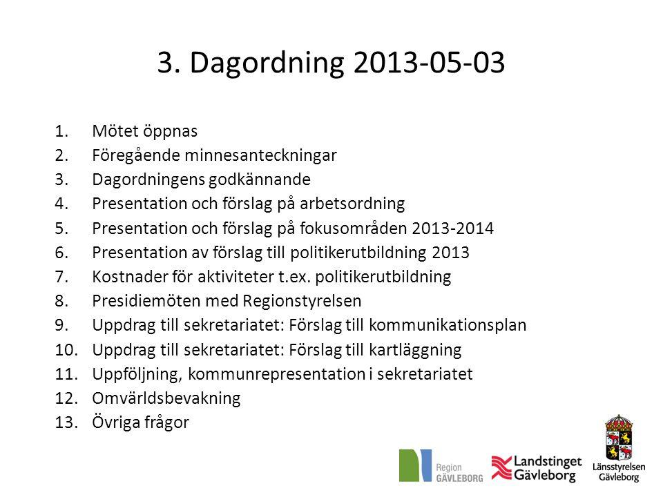 3. Dagordning 2013-05-03 Mötet öppnas Föregående minnesanteckningar