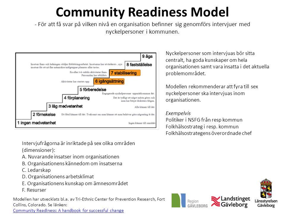 Community Readiness Model - För att få svar på vilken nivå en organisation befinner sig genomförs intervjuer med nyckelpersoner i kommunen.