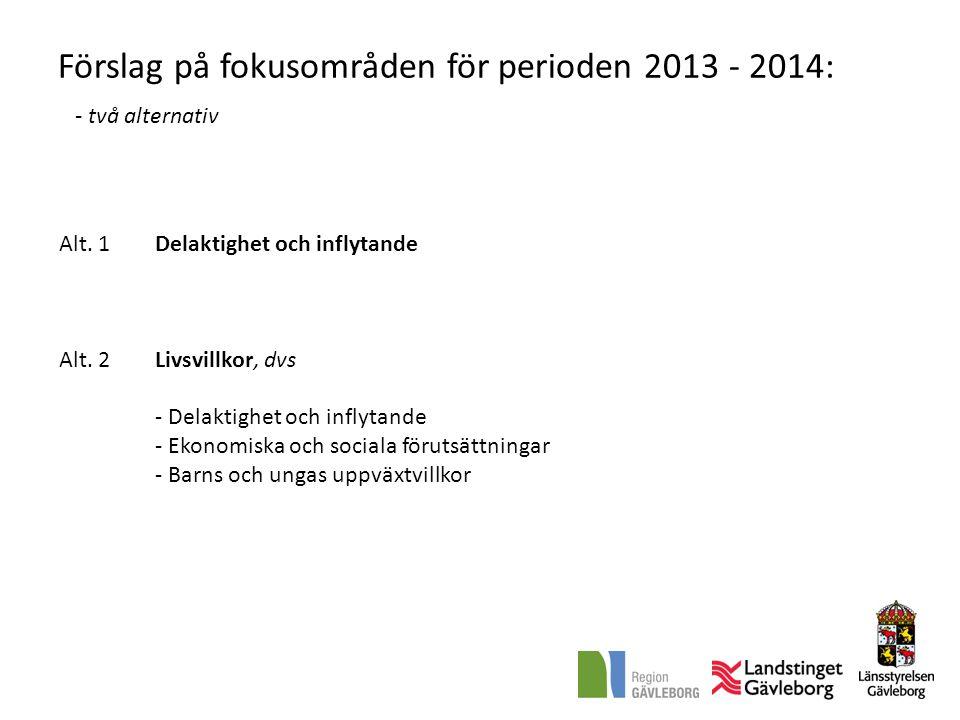 Förslag på fokusområden för perioden 2013 - 2014: - två alternativ