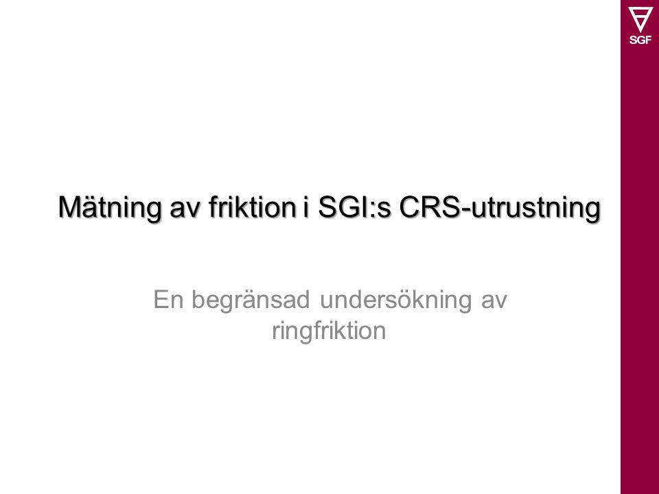 Mätning av friktion i SGI:s CRS-utrustning