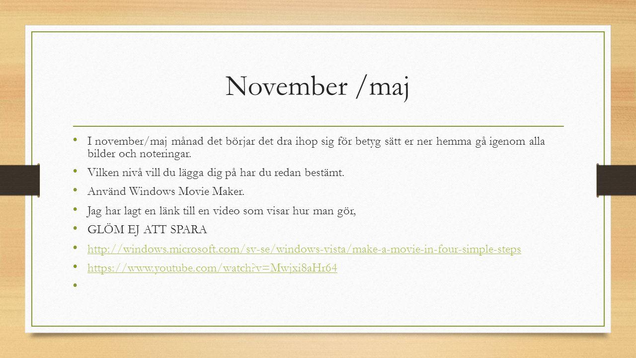 November /maj I november/maj månad det börjar det dra ihop sig för betyg sätt er ner hemma gå igenom alla bilder och noteringar.