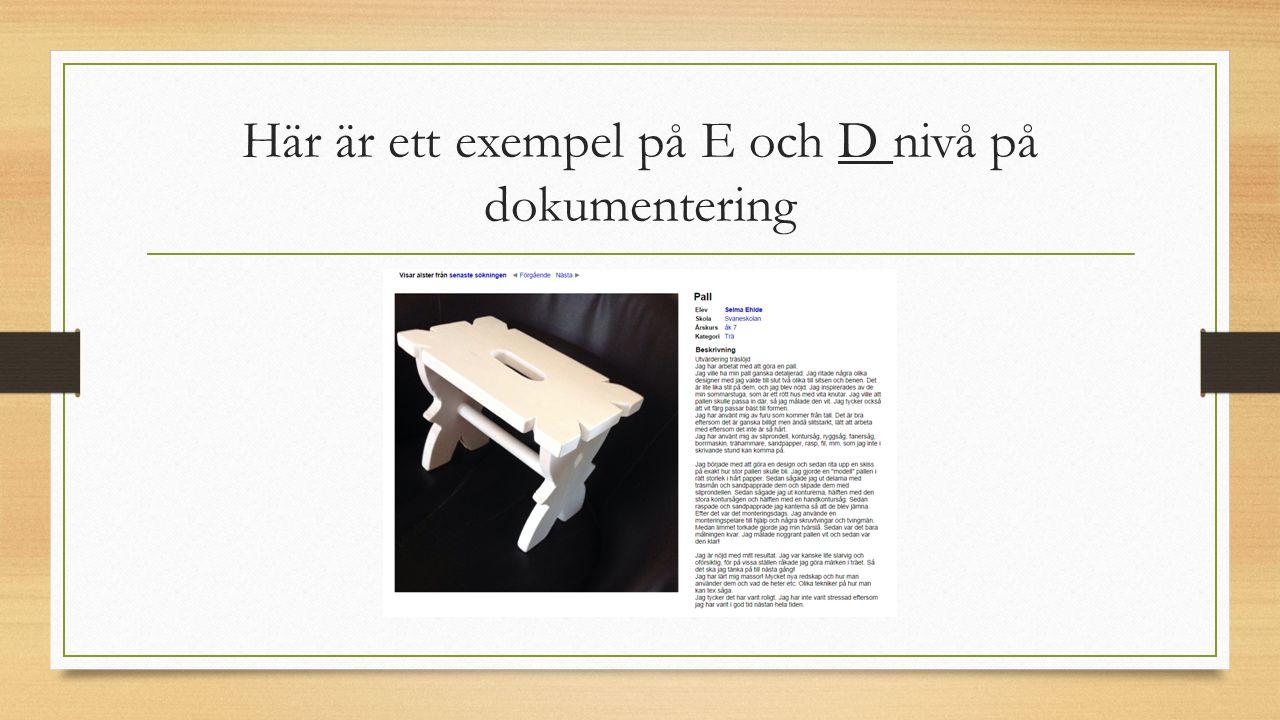 Här är ett exempel på E och D nivå på dokumentering