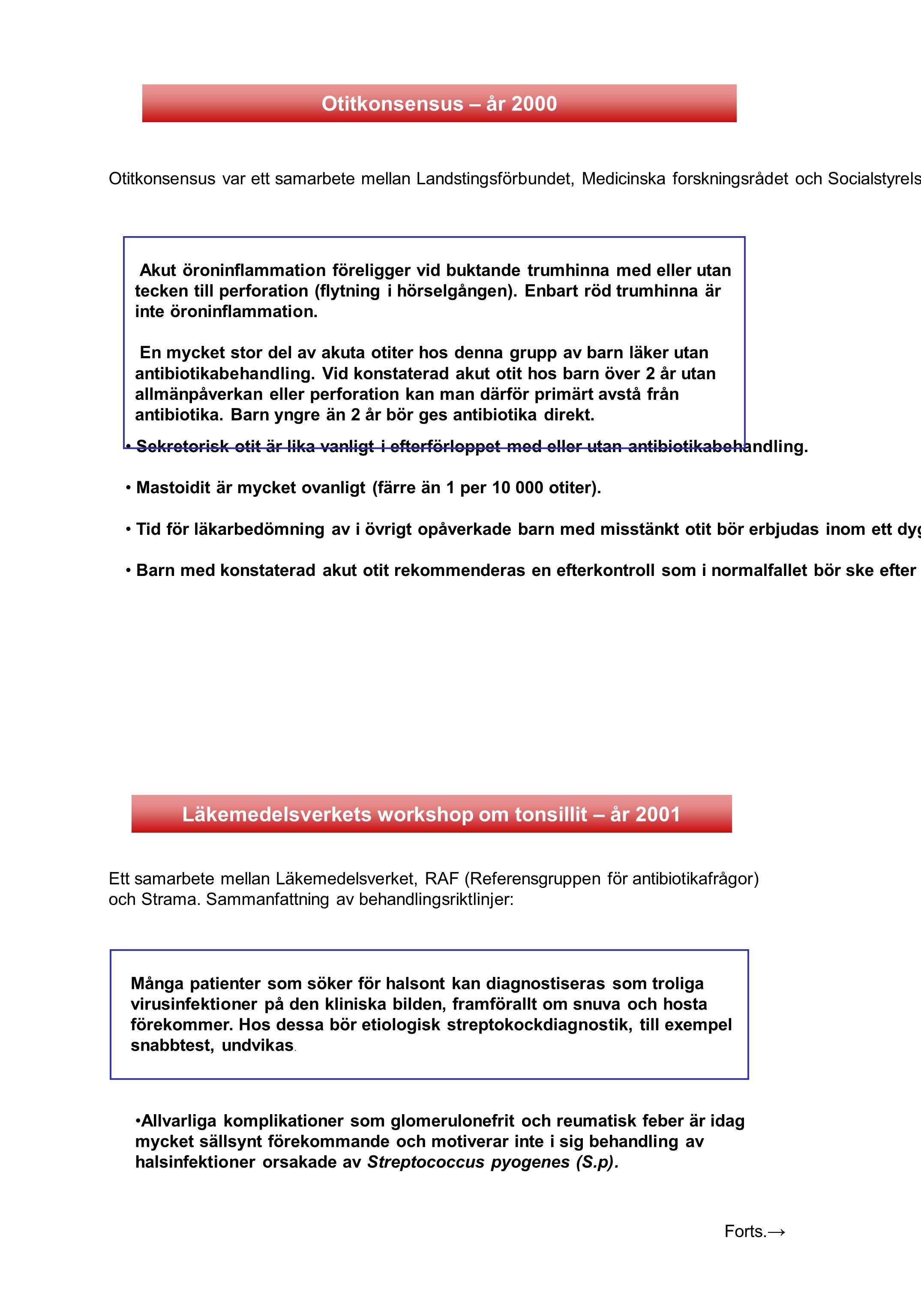 Läkemedelsverkets workshop om tonsillit – år 2001