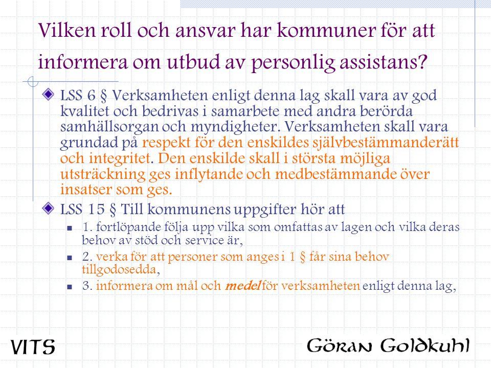 Vilken roll och ansvar har kommuner för att informera om utbud av personlig assistans