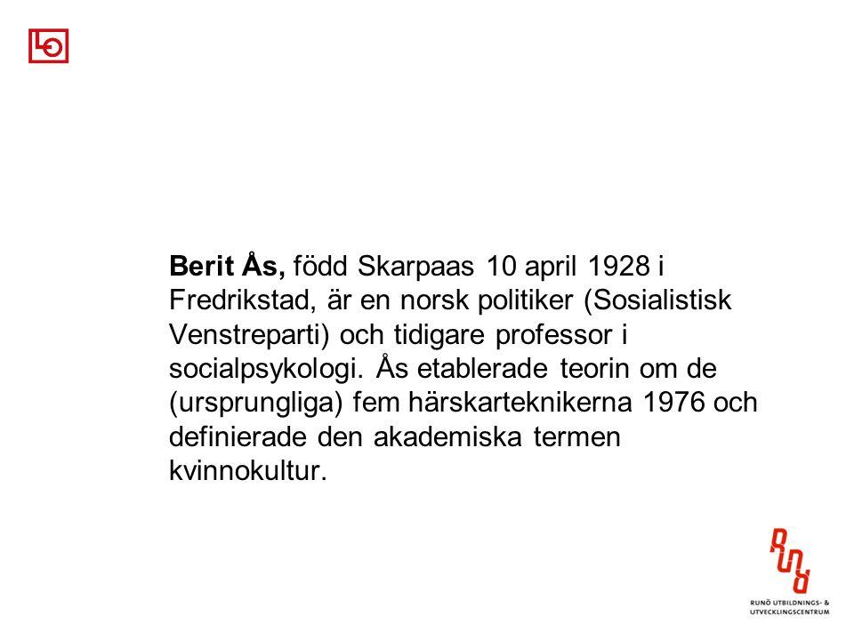 Berit Ås, född Skarpaas 10 april 1928 i Fredrikstad, är en norsk politiker (Sosialistisk Venstreparti) och tidigare professor i socialpsykologi.
