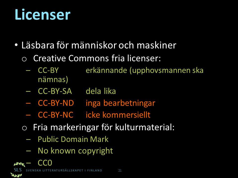 Licenser Läsbara för människor och maskiner