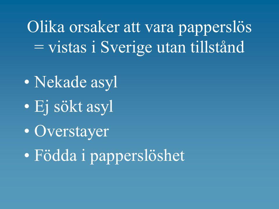 Olika orsaker att vara papperslös = vistas i Sverige utan tillstånd