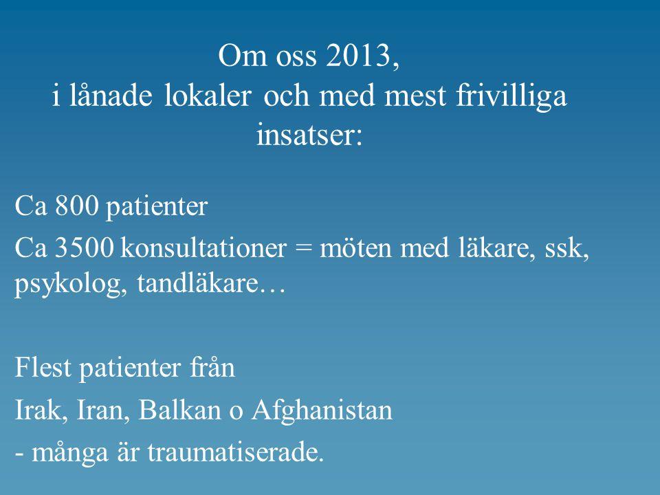 Om oss 2013, i lånade lokaler och med mest frivilliga insatser: