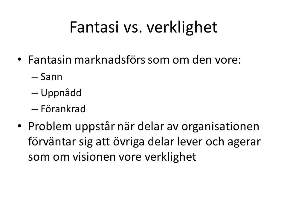 Fantasi vs. verklighet Fantasin marknadsförs som om den vore: