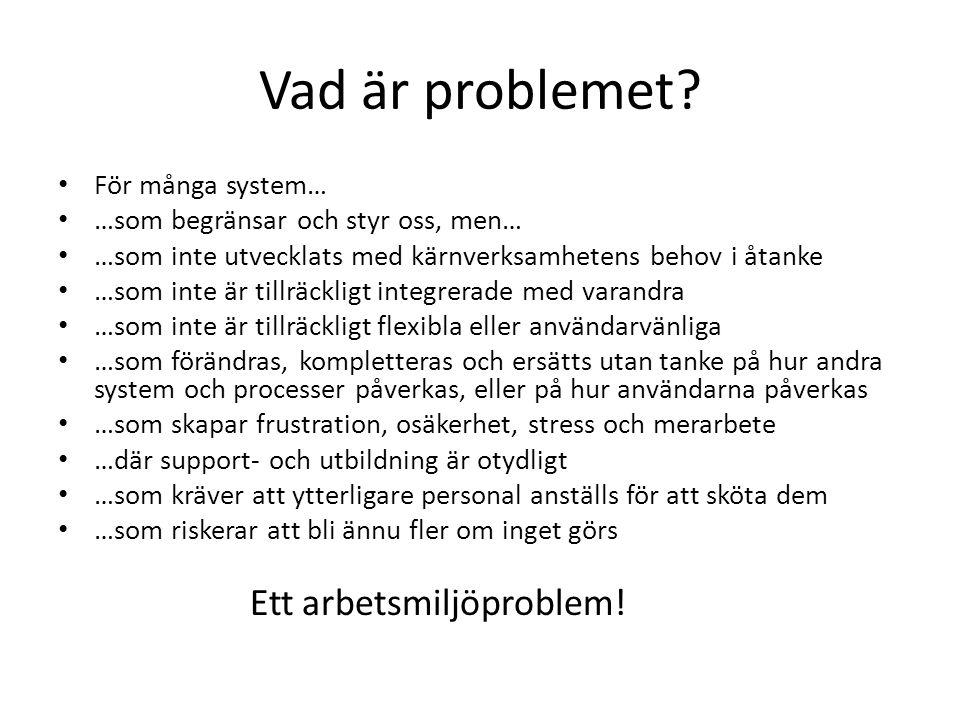 Vad är problemet Ett arbetsmiljöproblem! För många system…